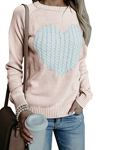 Bbalizko Womens Casual Pullover Sweater Long Sleeve Crew Neck Heart Printed Knit Sweater Tunic Tops (Small, Light (Hearts Skirt Sweater)