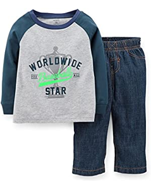 Baby Boys' 2 Piece Blue and Gray Shirt with Denim Jeans (9 Mos.)