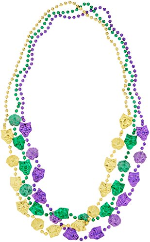 Beistle 50562 3-Pack Mardi Gras Mask Beads, 48-Inch (Mardi Gras Masks And Beads)