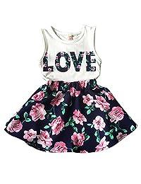 Norbi Baby Girls Sleeveless Floral Princess Party Dress Vest Skirt Set Clothes