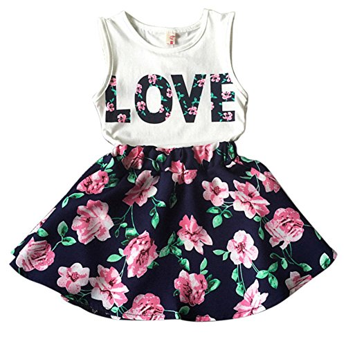 Norbi Baby Girls Sleeveless Floral Princess Party Dress Vest Skirt Set Clothes (S(3-4Y))