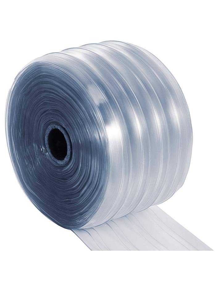 """Plastic Door Curtain – Clear Scratch Guard Ribbed PVC Curtain Bulk Roll, Commercial Industrial Door for Workshop, Garage, Pet Home, Warehouse (135' L x 7.3"""" W x 0.07"""" Thick)"""