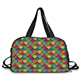iPrint Travelling bag,Geometric,Vivid Colored Stained Glass Style Pattern Wavy Lines Curves Oval Shapes Modern Decorative,Multicolor ,Personalized