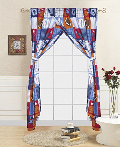 - Decotex 4 Piece Patchwork Sports Kids Window Curtain Panel Drape Set with Tie Backs (Patchwork Sports Curtains)