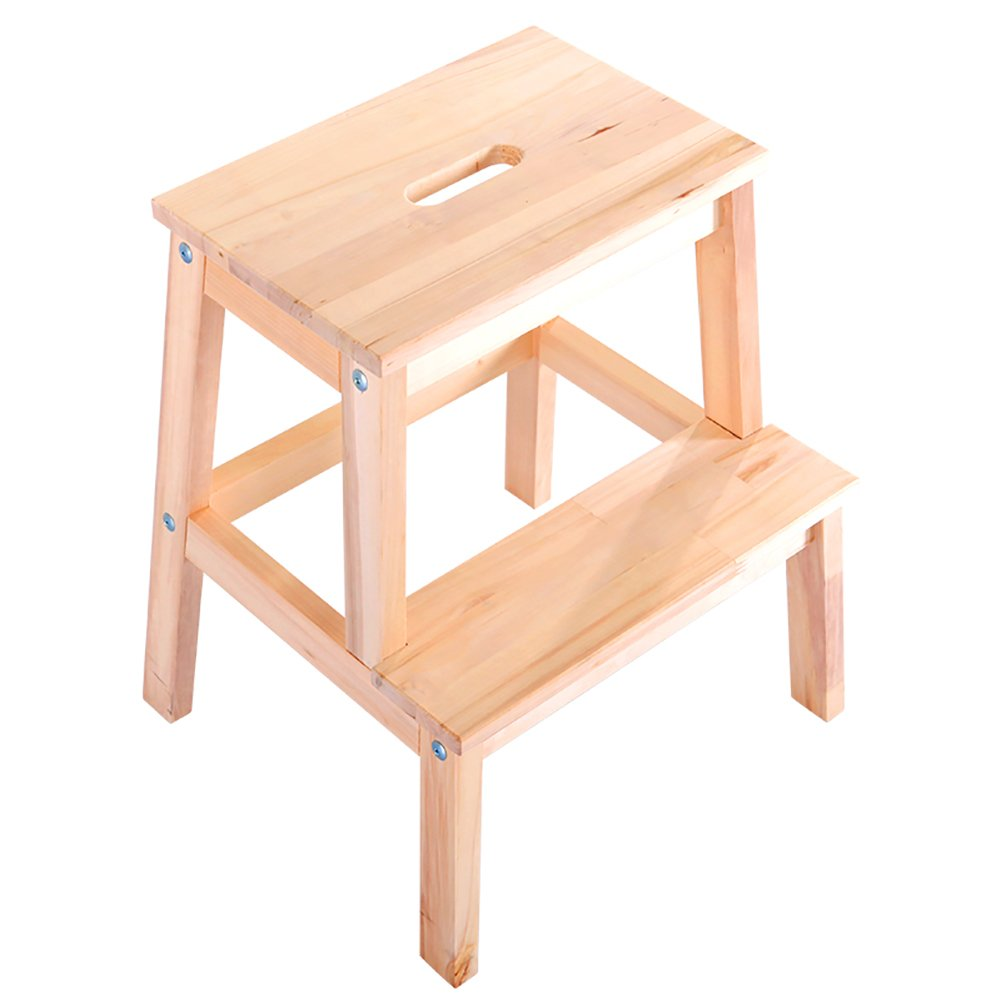 Wood color Yxsd Ladder Stool 2 Tier Solid Wood Step Stool,Small Stool, shoes Bench, Home Bench (color   Wood color)