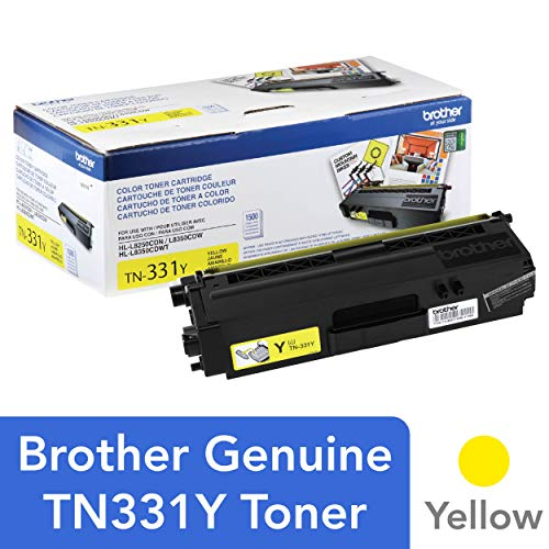 (Brother Genuine Standard Yield Toner Cartridge, TN331Y, Replacement Yellow Toner, Page Yield Up To 1,500 Pages, Amazon Dash Replenishment Cartridge, TN331)