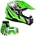 Typhoon Youth Kids Offroad Gear Combo Helmet Gloves Goggles Dot Motocross Atv Dirt Bike Mx Motorcycle Green Large