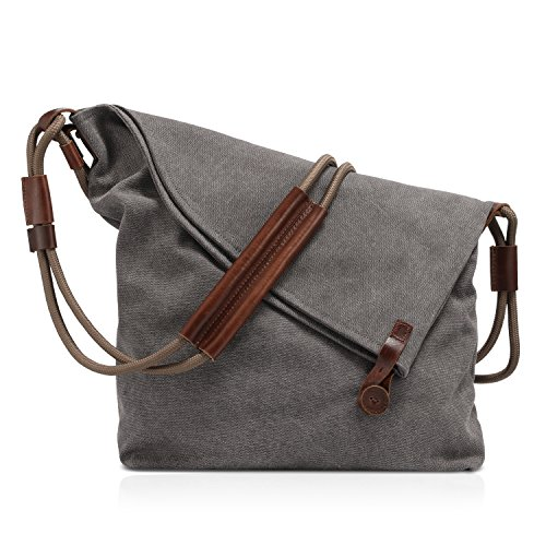Plambag Canvas Crossbody Shoulder Bag, Leather Trim Hobo Purse Messenger Bag by Plambag