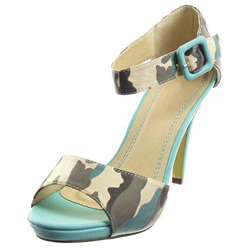 Sopily - Scarpe da Moda sandali scarpe decollete Stiletto Zeppe alla caviglia donna fibbia Tacco Stiletto tacco alto 10.5 CM - Blu
