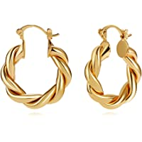 LILIE&WHITE Twisited Gold Chunky Hoop Earrings For Women 14K Gold Plated High Polished Lightweight Hoops For Girls…