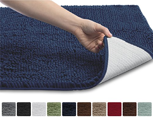 The Original GORILLA GRIP Slip-Resistant Shaggy Chenille Bathroom Rug Mat, 3 Sizes and 6 Colors, Extra Soft and Absorbent, Machine-Washable, Perfect for Bath, Tub, and Shower (Navy, 30