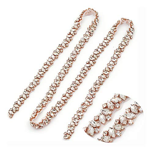 Yanstar Handmade Crystal Rhinestone Wedding Bridal Belts With Ribbons For Bridal Dress (Rose Gold)