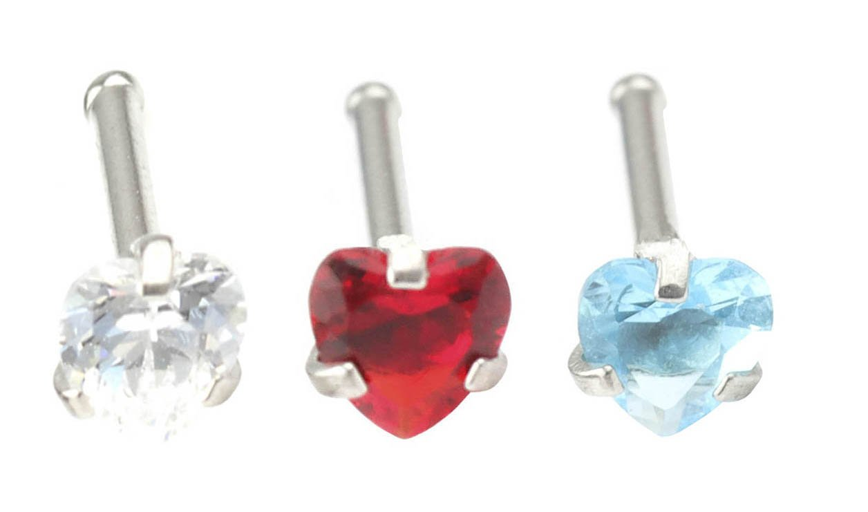 FB 20G Nose Studs Stainless Steel Heart CZ Nose Bones Studs Rings Pin Hypoallergenic Piercing Jewelry