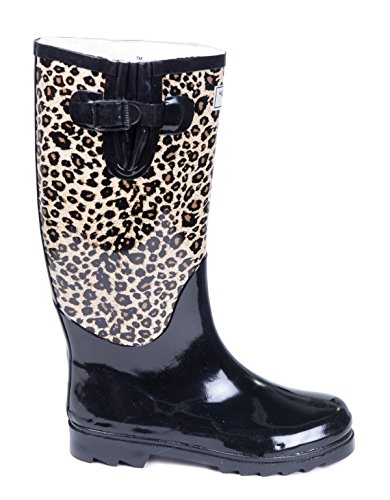Women Rubber Rain Boots, Safari Designs, Animal Black,9