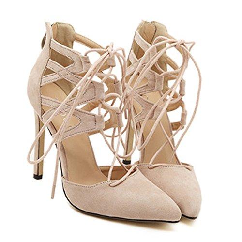 Heeled Sandals Footwear High Women (STARFARM Women's High Heel Sandals Heeled Sandals Lace-up Gladiator High Heel Bootie Peep Toe High Heel Lace up Strappy Pumps (US-7, Nude))