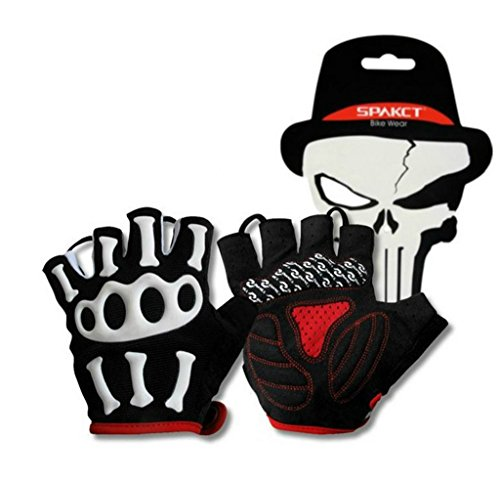 Wonzone Skull Cycling Gloves Mountain Bike Gloves Road Racing Bicycle Gloves Light Silicone Gel Pad Riding Gloves Half Finger Gloves Men/Women Work Gloves(ShortBlack M) ()