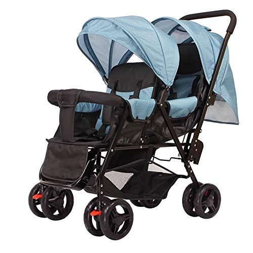 LQRYJDZ Double Stroller,Sitting Back and Forth Tandem Stroller, with Adjustable Backrest, Footrest, 5 Points Safety Belts, Foldable Design for Easy Transportation (Color : E)