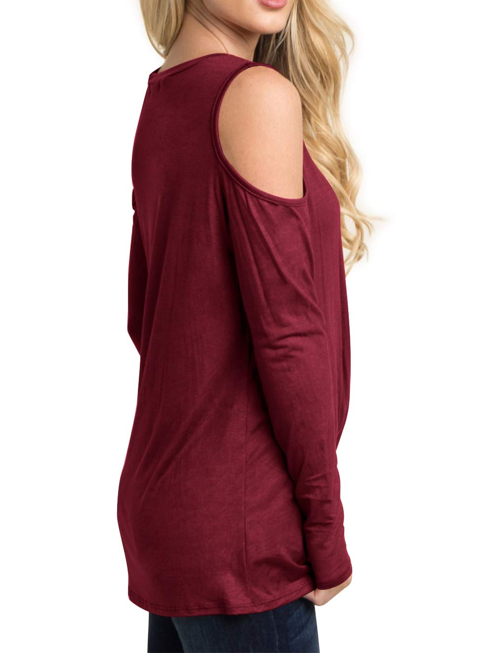 Eanklosco Women's Long Sleeve Cold Shoulder Cut Out T Shirts Casual Knot Tunic Tops (Wine Red, S)