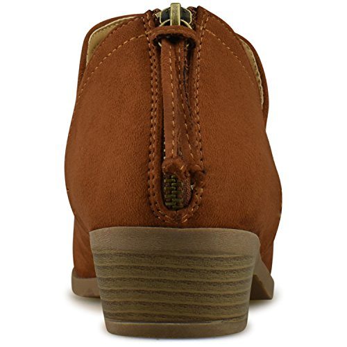 Boot Comfortable Closed Side – Bootie Tan Women's Shoe Elastic Low S Premier Standard Casual Walking Ankle Panel Heel Toe xF8n0gwaq