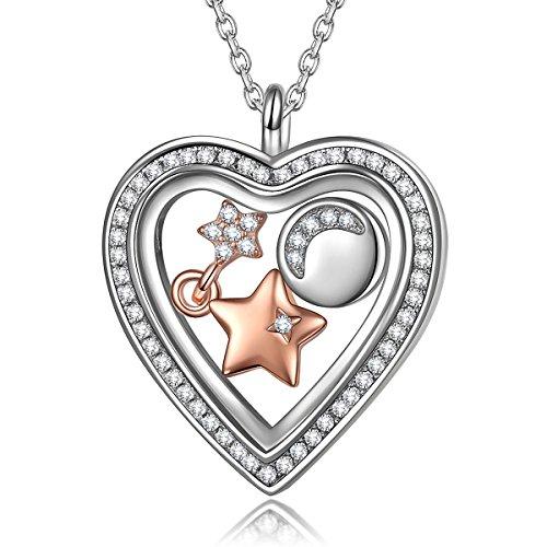 NinaQueenStarry Moon 925 Sterling Silver Heart shape design Pendant Women Necklace (Gold Teardrop Heart)