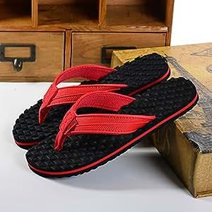 LIXIONG Portátil Zapatillas Cómodas Antideslizantes Del Masaje De Los Hombres Zapatillas Ocasionales Al Aire Libre De La Playa De Los Pares Del Varón Y De La Hembra (blanco, Negro, Rojo) -Zapatos de moda ( Color : Rojo , Tamaño : EU39/UK6.5/CN40 )