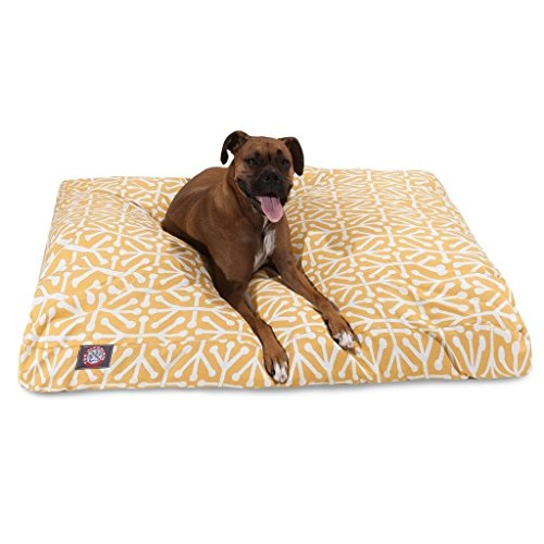 Large Yellow White Geometric Pattern Dog Bed, Modern Fun Bold Print Pet Bedding, Rectangle, Features Waterproof base, Stain Resistant, Removable Cover, Sturdy Zipper Design, Polyester by N2