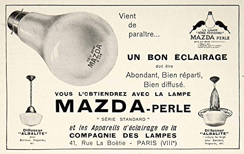 1928 Ad Vintage French Mazda Perle Light Bulb Lamp Lighting Fixture Lampes VEN5 - Original Print Ad from PeriodPaper LLC-Collectible Original Print Archive