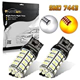 lexus airbag module - Partsam 7440 7440NA 7443 7444NA 7505 992 W21W T20 White/Amber Switchback Dual Color High brightness Car Turn Signal bulbs 60-Epistar-Dual Chip-SMD For Chevrolet Dodge Ford Jeep Lexus Mazda 2PCS