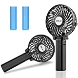 OPOLAR Handheld Portable Battery Operated Rechargeable USB Fan with Strong Airflow, Mini Personal Fan with 2200mAh Battery and 3 Settings for Travel Home and Office Use, Adjustable Angle - Two Pack