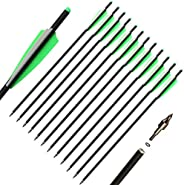12pcs Crossbow Bolts 20 inch Hunting Archery Carbon Arrow Crossbow Bolts Arrow with 4 inch Vanes and Replaced