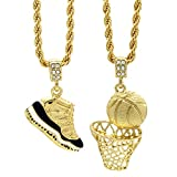 L & L Nation Mens Gold Plated HipHop Retro 11'' Concord & Plain Basketball Pendant 4mm 24'' Rope Chain