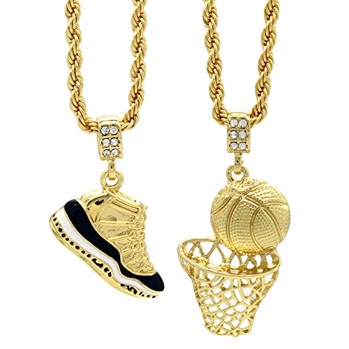 "Mens Gold Plated HipHop Retro 11 ""Concord"" & Plain Basketball Pendant 4mm 24"" Rope Chain"