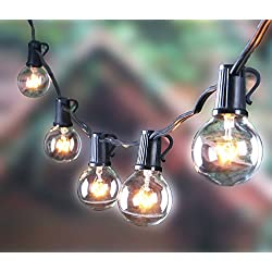 Outdoor G40 Globe Pergola String Lights with 100 Clear Bulbs, UL List Edison String Light for Wedding Patio Backyard Garden Party Cafe Bistro Deckyard Pool Umbrella Christmas Decoration, Black 100Ft