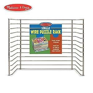 """Melissa & Doug Wire Puzzle Storage Rack (Arts & Crafts, Sturdy Metal Construction, Pre-Assembled, Peg Puzzle Storage, 8.5"""" H x 8.5"""" W x 12"""" L)"""