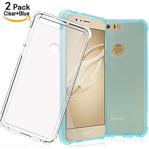 Price comparison product image Honor 8 Case with Enhanced Corner Protection,Shalwinn 2 PACK Lightweight Anti Scratch Premium TPU Case for Honor 8 ( Blue+ Clear)