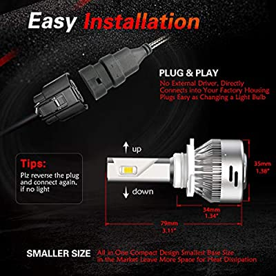 LASFIT 9005 HB3 LED Headlight Bulbs High Beam 72W 7600LM 6000K, Plug&Play: Automotive