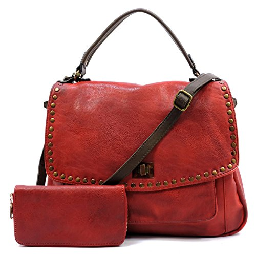 Vegan faux soft leather two tone messenger bag with matching wallet 2 pcs set (Red)