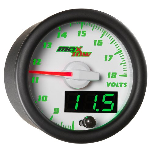 MaxTow Double Vision Volt Voltmeter Gauge - Voltage Range 8-18 Volts - White Gauge Face - Green LED Illuminated Dial - Analog & Digital Readouts - for Trucks - 2-1/16 52mm