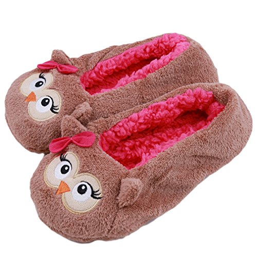 Elistelle Slippers, Women Girls Indoor Full Slippers with Warm Lining Skid-proof Sole Footwear Home House Shoes Creative Christmas Gift,Owl,US 6.5