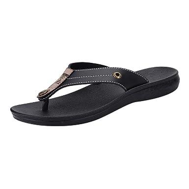 37d6a9f5152 HOSOME Men s Slippers Casual Flats Platform Flip Flops Antiskid Men Beach  Shoes Black