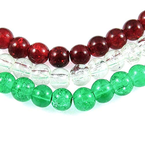 - Ruby Red, Green & Clear Glass Crackle Bead Set, Christmas Mix 6mm (300 Pieces)