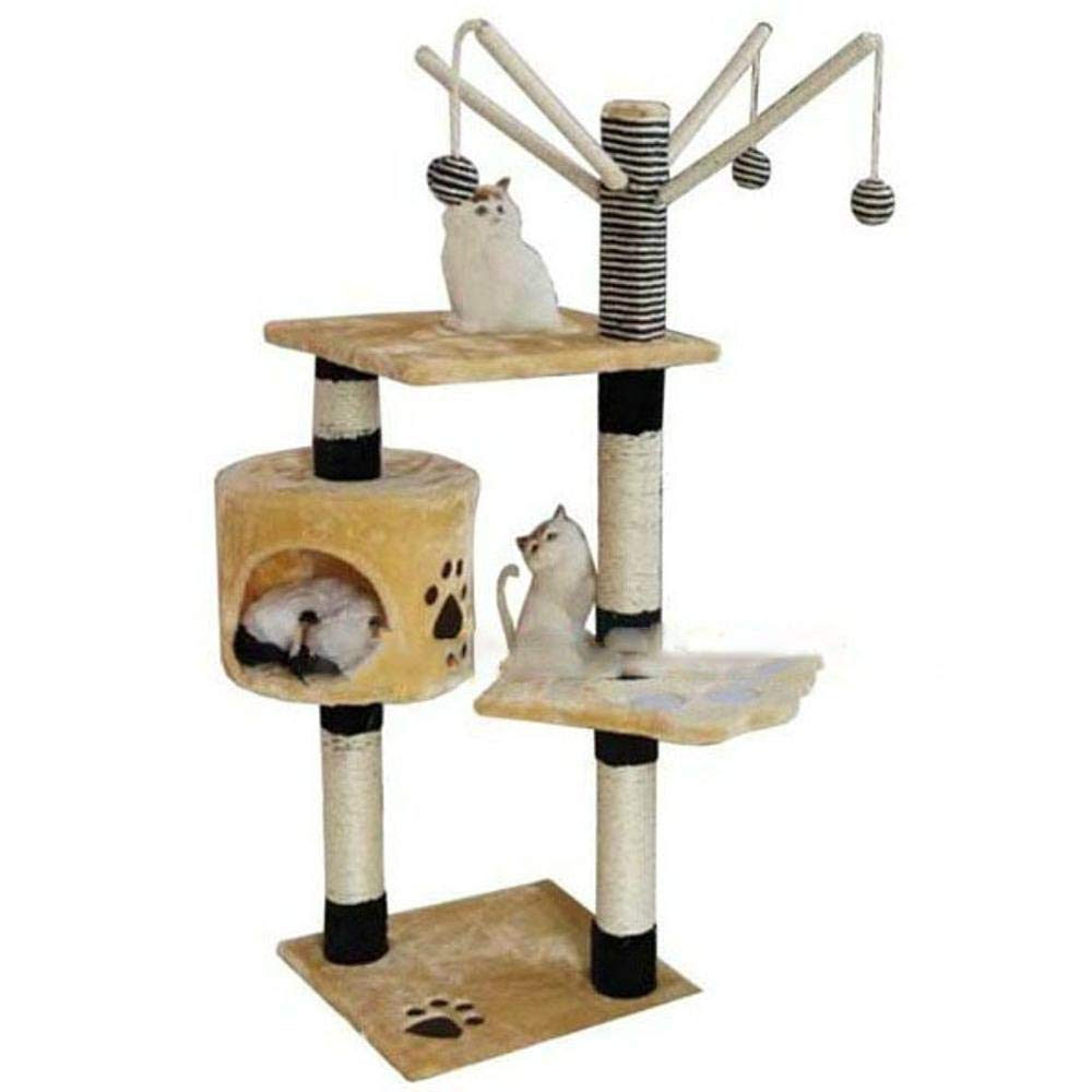 TOUYOUIOPNG Deluxe Multi Level Cat Tree Cat Play Towers Double color multifunctional cat platform with sisal Ball 4 ball 40  40  125cm