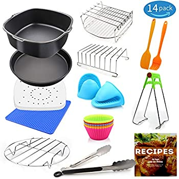 Air Fryer Accessories XL for Gowise Phillips Cozyna Ninja, Set of 14 for 4.5/5.5/5.8/6.5 QT with Recipe Cookbook, Rust Proof 8'' Square Cake Barrel, Pizza Pan, 8'' Air Fryer Liners, S.S. Metal Holder