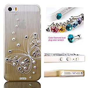 Cocoz Iphone 5s Case Rhinestone Diamond Graphic Design Thin Shell,for Iphone 5s Retail Packaging (Champagne Gold with Color Butterfly)