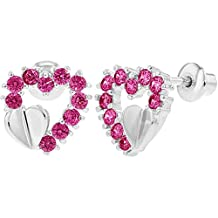 Rhodium Plated Hot Pink Crystals Heart Screw Back Earrings for Kids
