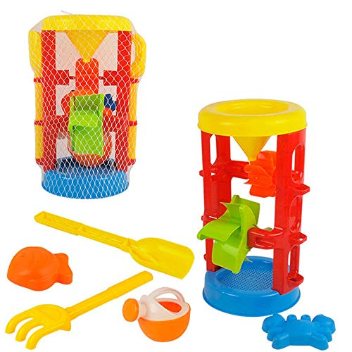 Early Educational Toddler Toys Beach Toy Set-Mesh Backpack Bag-Shovel,Shovel,Bucket,Waterfall,Shape More Sandcastle, Water Sandbox for 1-3 Year Old Kids