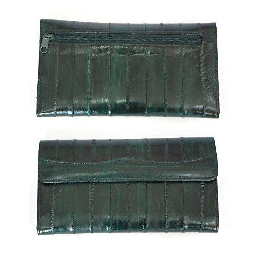 Green Eel (Genuine Eel Skin Leather Womans Long Wallet Trifold Purse (Dark Green))