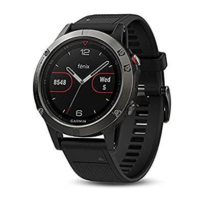 Garmin 010-01987-02 Fenix 5S Plus Sapphire Black with Black Band + 1 Year Extended Warranty