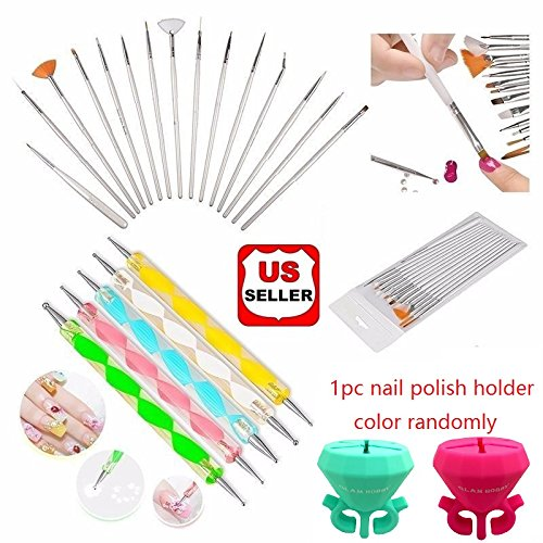 Glam Hobby 20pc Nail Art Manicure Pedicure Beauty Painting Polish Brush and Dotting Pen Tool Set for Natural, False, Acrylic and Gel Nails (Nail Art Dotting Tool Set compare prices)