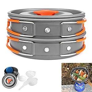 KANG--9Pcs Portable Camping Hiking Cookware Picnic Bowl Pot Pan Outdoor Cooking Set